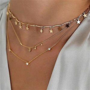 YUNA ✨ Gold Stars Moon Layered Necklace Choker